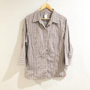 The North Face | Gray Striped Button Down Shirt